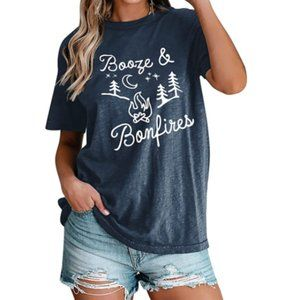 Booze And Bonfires Outdoors Retro Navy Graphic Tee
